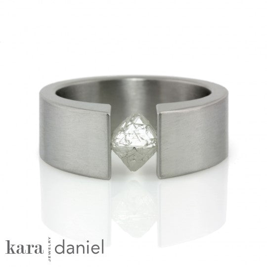 Tension set rough diamond engagement ring with octahedron by Kara Daniel Jewelry