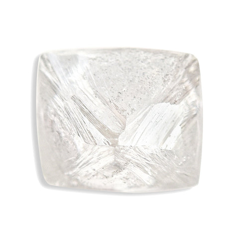 0.84 carat white and flawless raw diamond octahedron