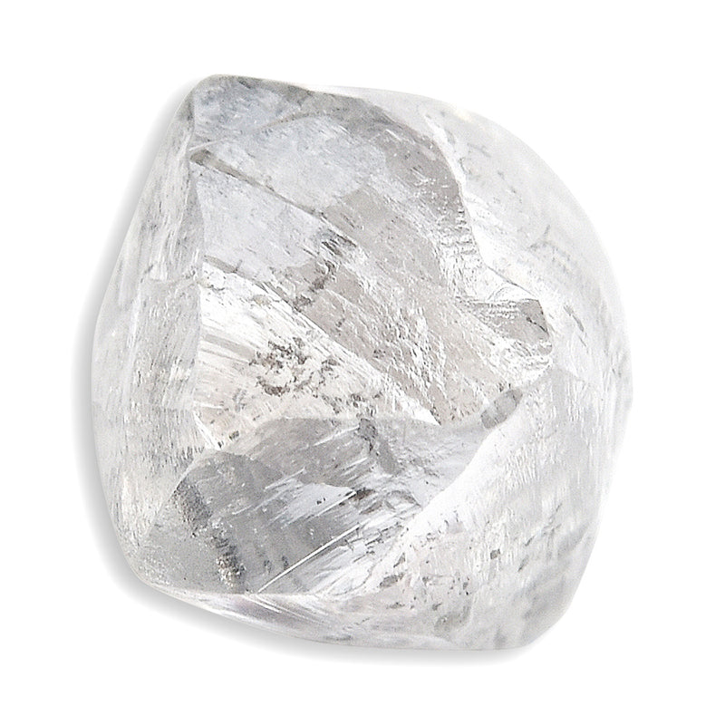 0.90 carat silver and white internal raw diamond dodecahedron