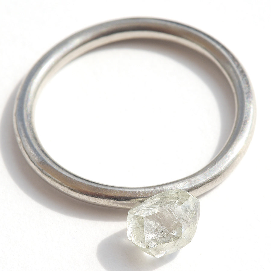 0.94 carat white and oblong raw diamond octahedron
