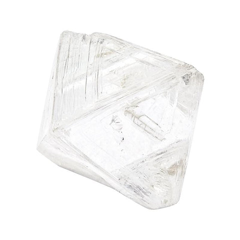 0.97 carat extremely clear and slightly oblong rough diamond octahedron