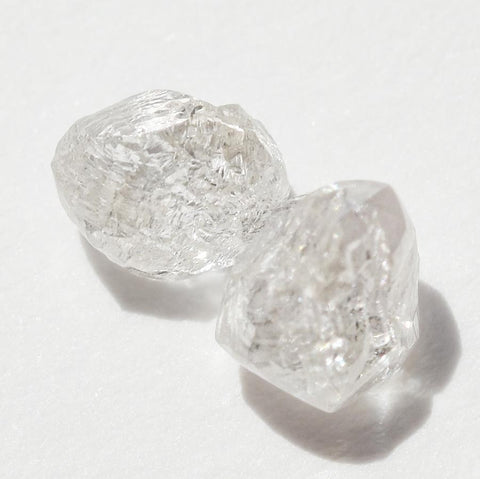 0.78 carat light pink champagne raw diamond pair