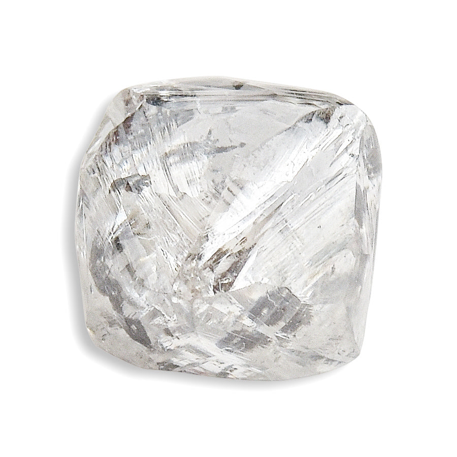 1.04 carat shiny waterlike rough diamond octahedron