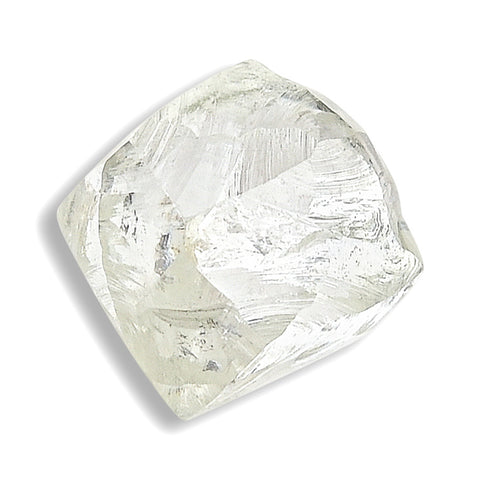 1.06 carat white and waterlike raw diamond dodecahedron