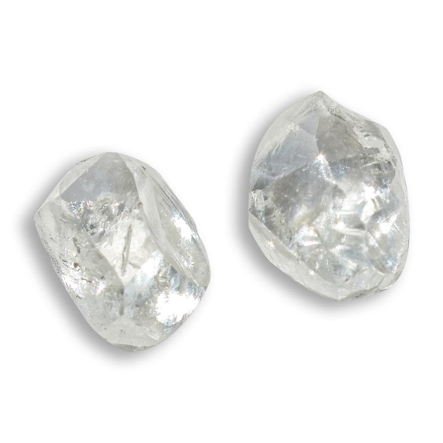 0.63 carat light green dodecahedron raw diamond pair