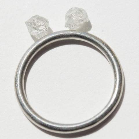 1.01 carat white raw diamond pair