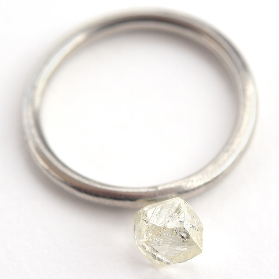 1.29 carat gemmy and waterlike raw diamond dodecahedron