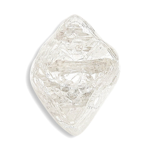 1.76 carat tear drop shaped rough diamond rhombododecahedron