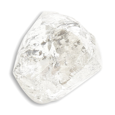 0.90 carat smooth and white raw diamond dodecahedron