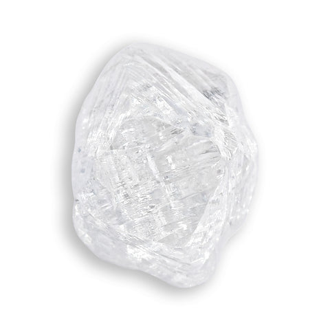 1.0 carat bright white and architecturally intriguing rough diamond octahedron