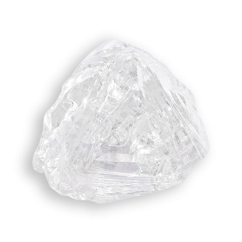 1.00 carat clean and clear white raw diamond half octahedron
