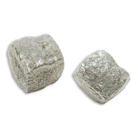 13.78 carat silver gray cubical raw diamond pair