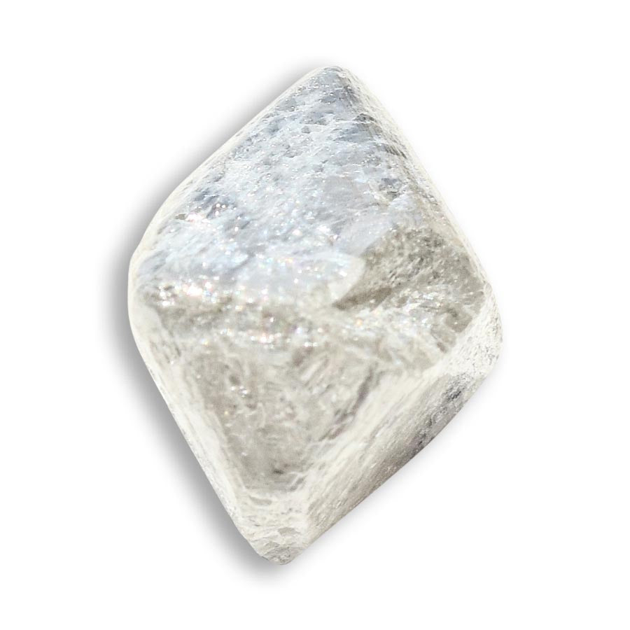 8.9 carat white and silver rough diamond octahedron