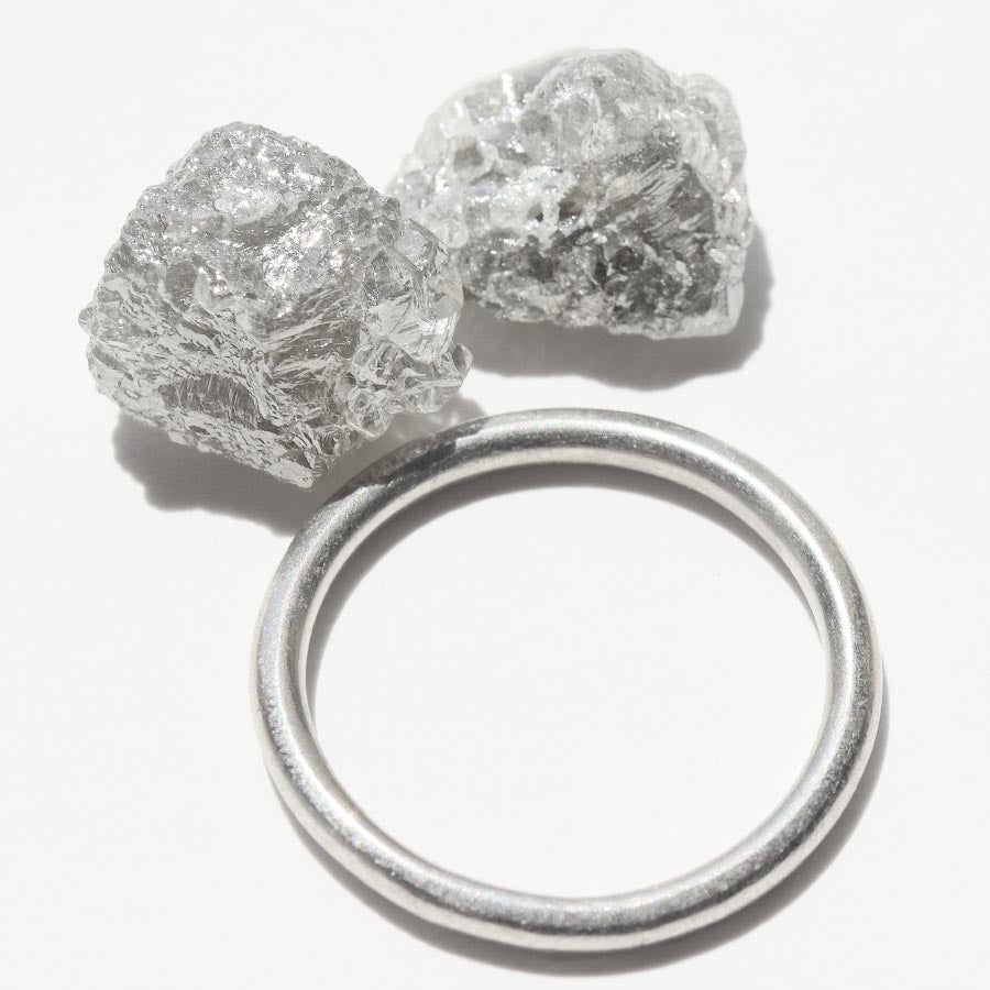 13.46 carat light silver freeform rough diamond pair