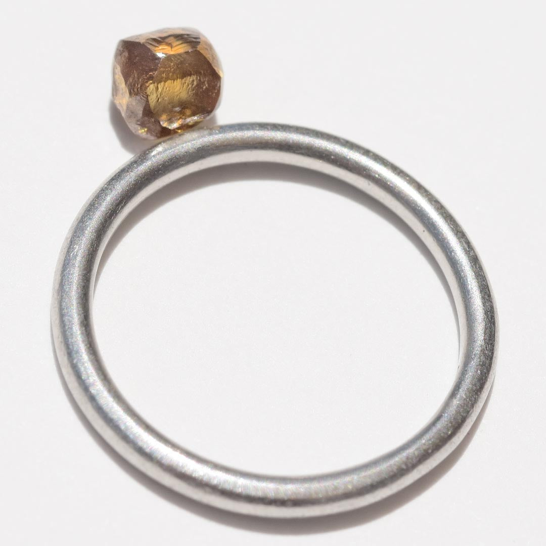 0.90 carat golden brown freeform raw diamond