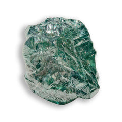 1.25 carat deep sea green freeform shaped rough diamond