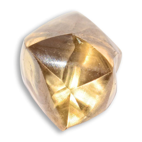 2.46 carat gold champagne raw diamond dodecahedron