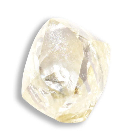 0.85 carat light yellow rough diamond dodecahedron