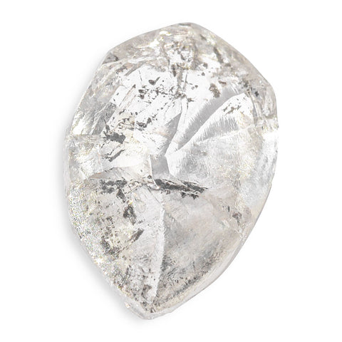1.59 carat teardrop shaped salt and peppery raw diamond