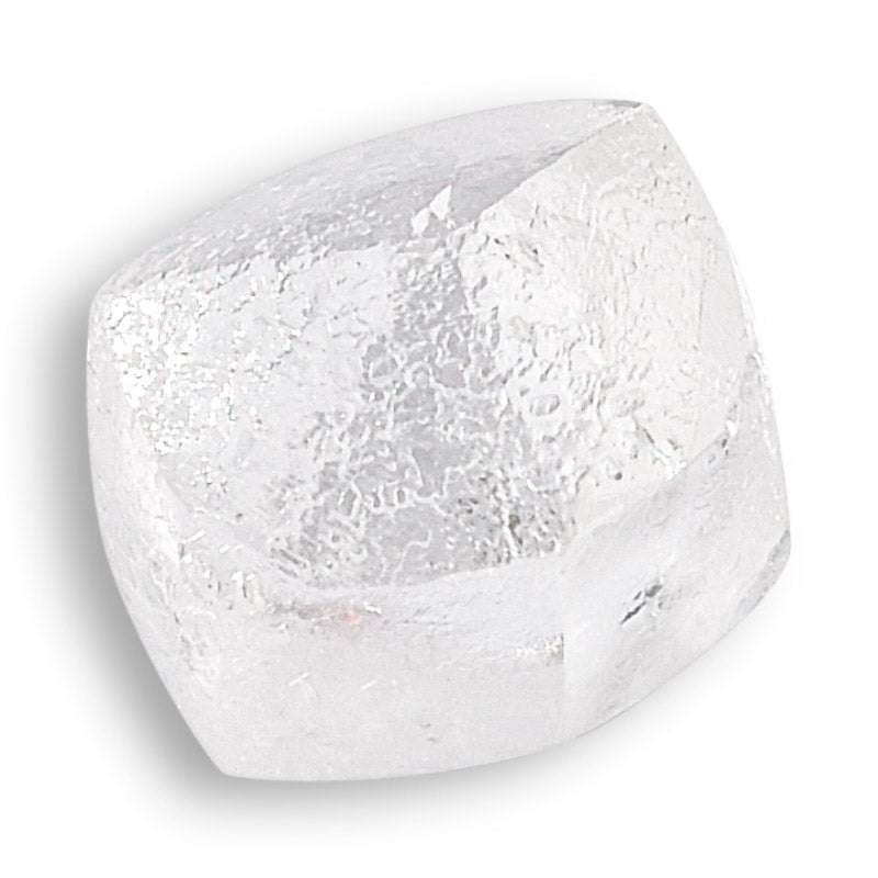 .77 carat colorless and architectural raw diamond dodecahedron