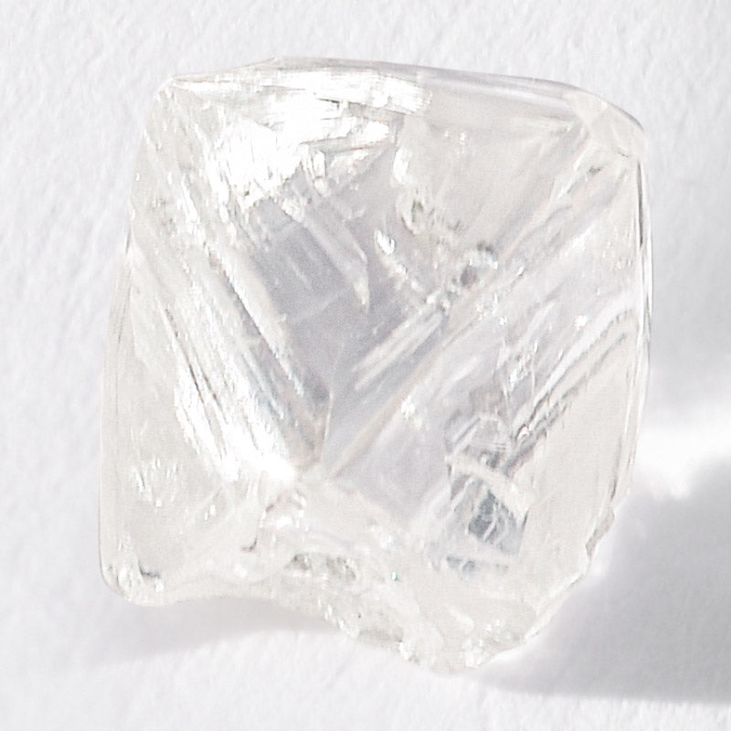 0.93 carat glassy and clear raw diamond octahedron