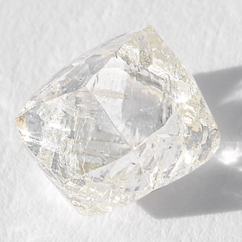 0.96 carat gemmy and waterlike raw diamond dodecahedron