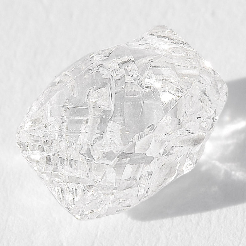 1.54 carat oblong and clear freeform raw diamond