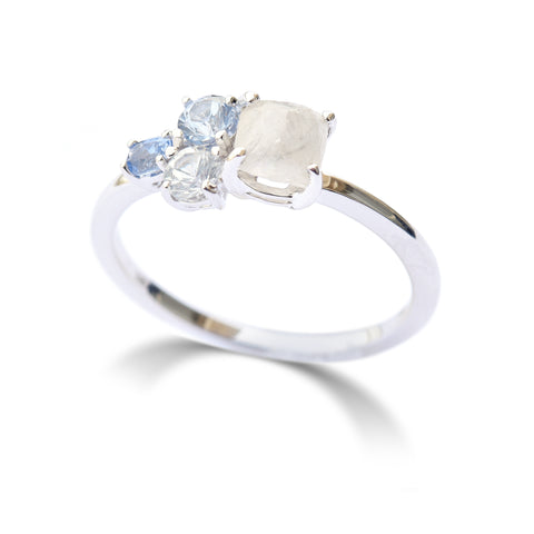 The Raziel ring - a rough diamond and sapphire cluster engagement ring