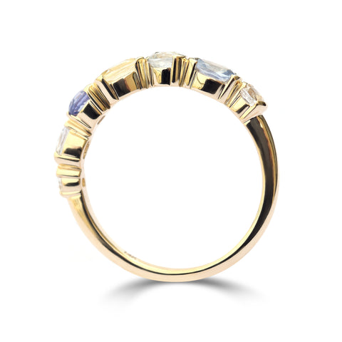The Aderet ring - a stacking ring made with multicolored mine-to-market sapphires