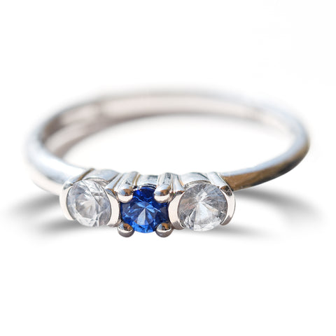 Three sapphire stacking ring in 14k white gold