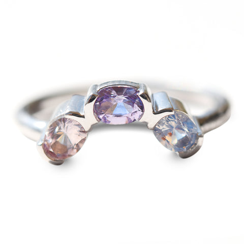 Angled triple sapphire stacking ring in 14k white gold