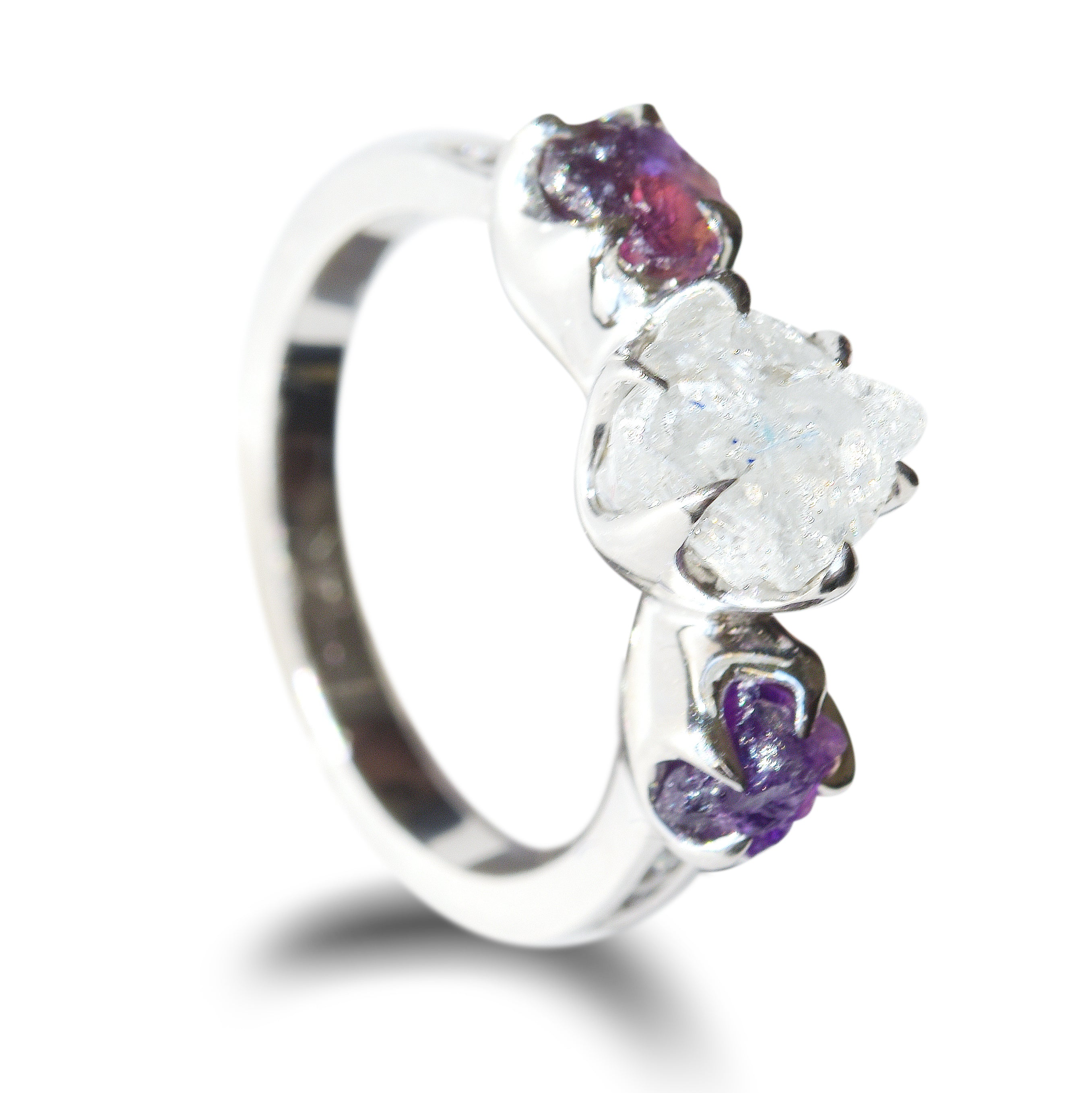 Stav Ring - A three-stone raw diamond and raw gemstone ring with conflict free diamond channel band