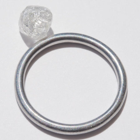 1.74 carat clear and white rough diamond octahedron