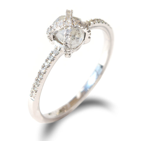 Magen Ring - A criss-cross or basket style rough diamond engagement ring