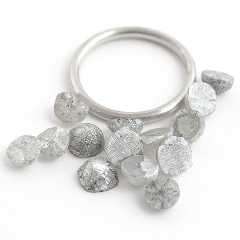 0.50 carat sliced round rough diamonds - light silver/off-white. **We pick one piece from this parcel for you!!**