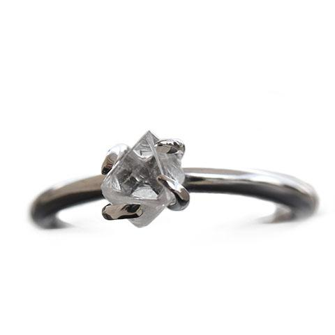 Adin Ring - A thin round-banded rough diamond engagement ring Rings The Raw Stone
