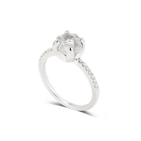 Evanim Ring - A raw diamond engagement ring with melee Rings The Raw Stone