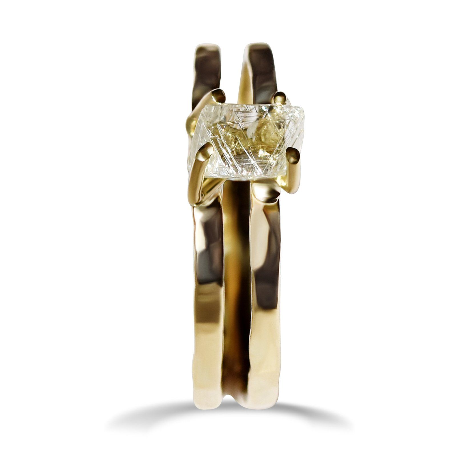 Ezaria Ring - A double banded raw diamond engagement ring Rings The Raw Stone