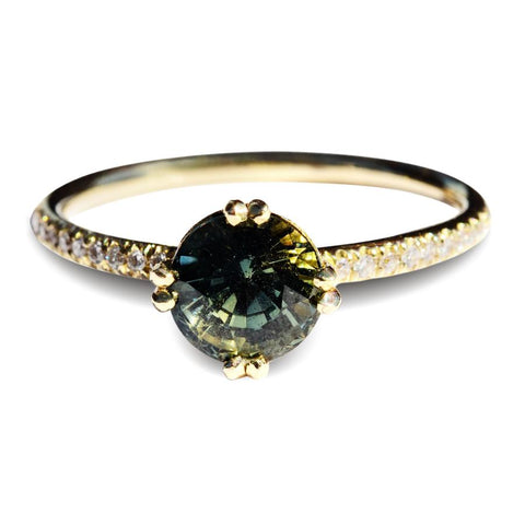Ruah Ring - A natural raw diamond or raw sapphire engagement ring