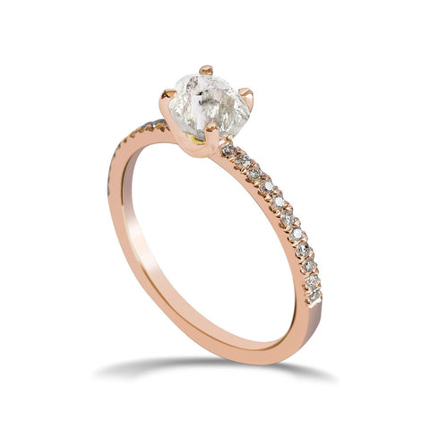 Kerah Ring - A raw diamond solitaire engagement ring with diamond melee Rings The Raw Stone