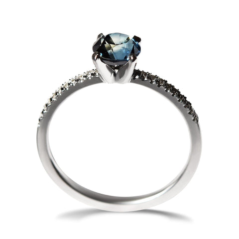 Te'anim Ring - A three-stone raw diamond or sapphire engagement ring