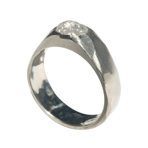 Midbar Ring - A hammered engagement ring for any type of stone
