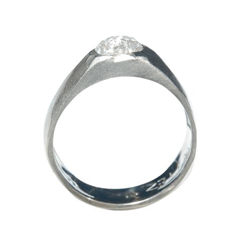Malkah Ring - A bezel set wide band engagement ring Rings The Raw Stone