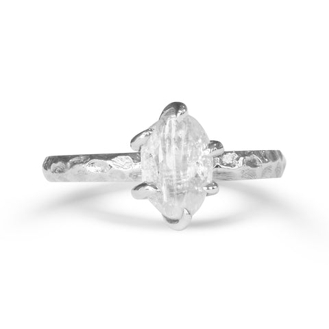 Adin Ring - A thin round-banded rough diamond engagement ring