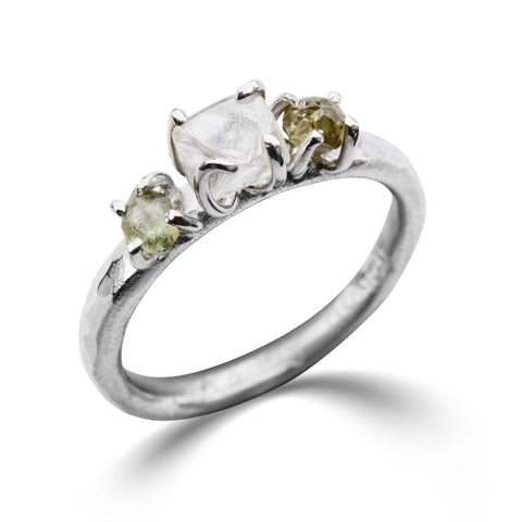 Te'anim Ring - A three-stone raw diamond or sapphire engagement ring Rings The Raw Stone