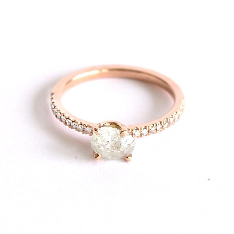 The Kerah model with sparkly clear raw diamond Rings The Raw Stone