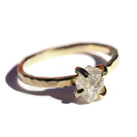 The Midbar model with bright white rough diamond Rings The Raw Stone
