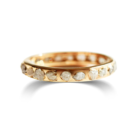 The Shalva Ring - A raw diamond channel band and stacking ring Rings The Raw Stone