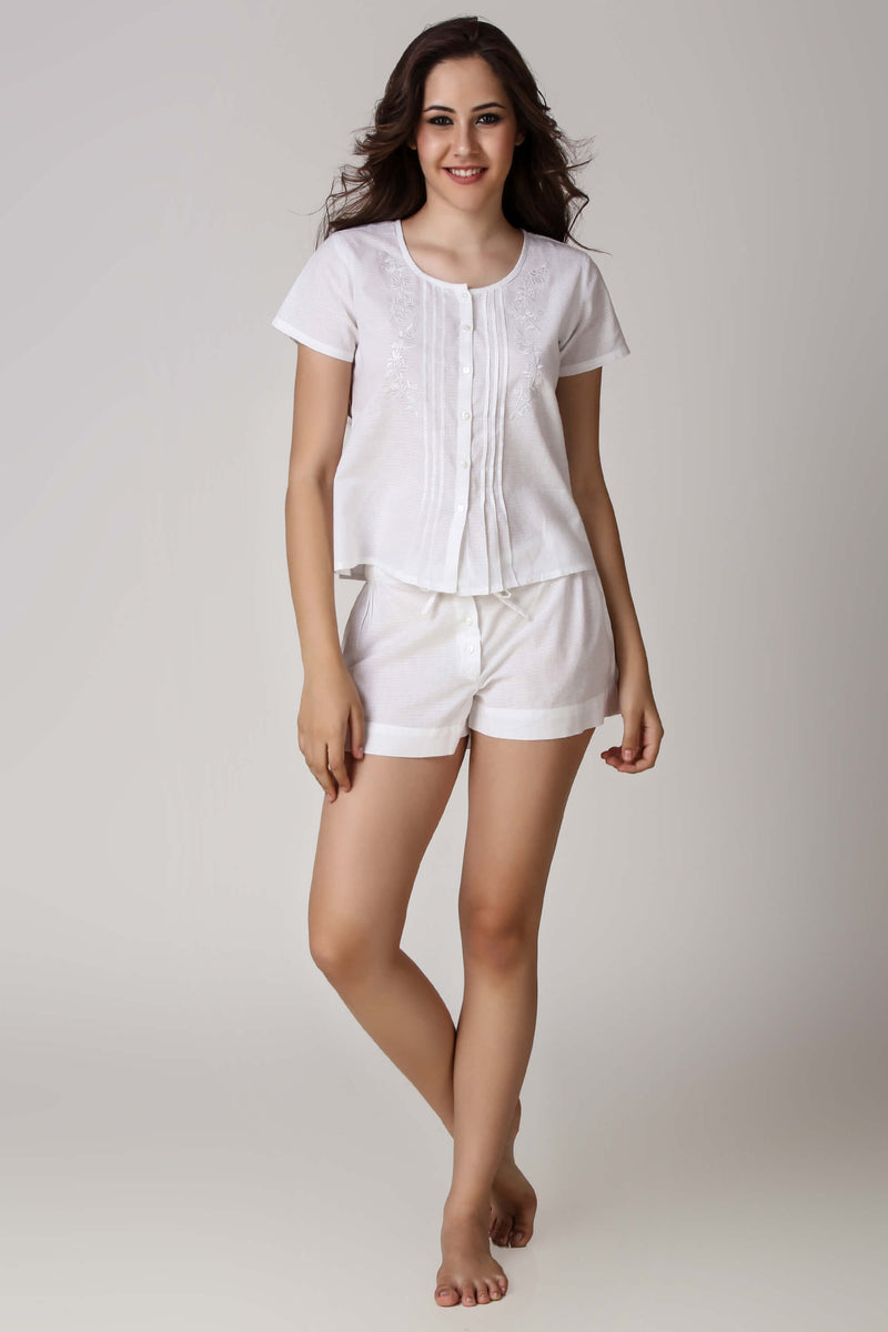 Madeline, Embroidered Top & Shorts