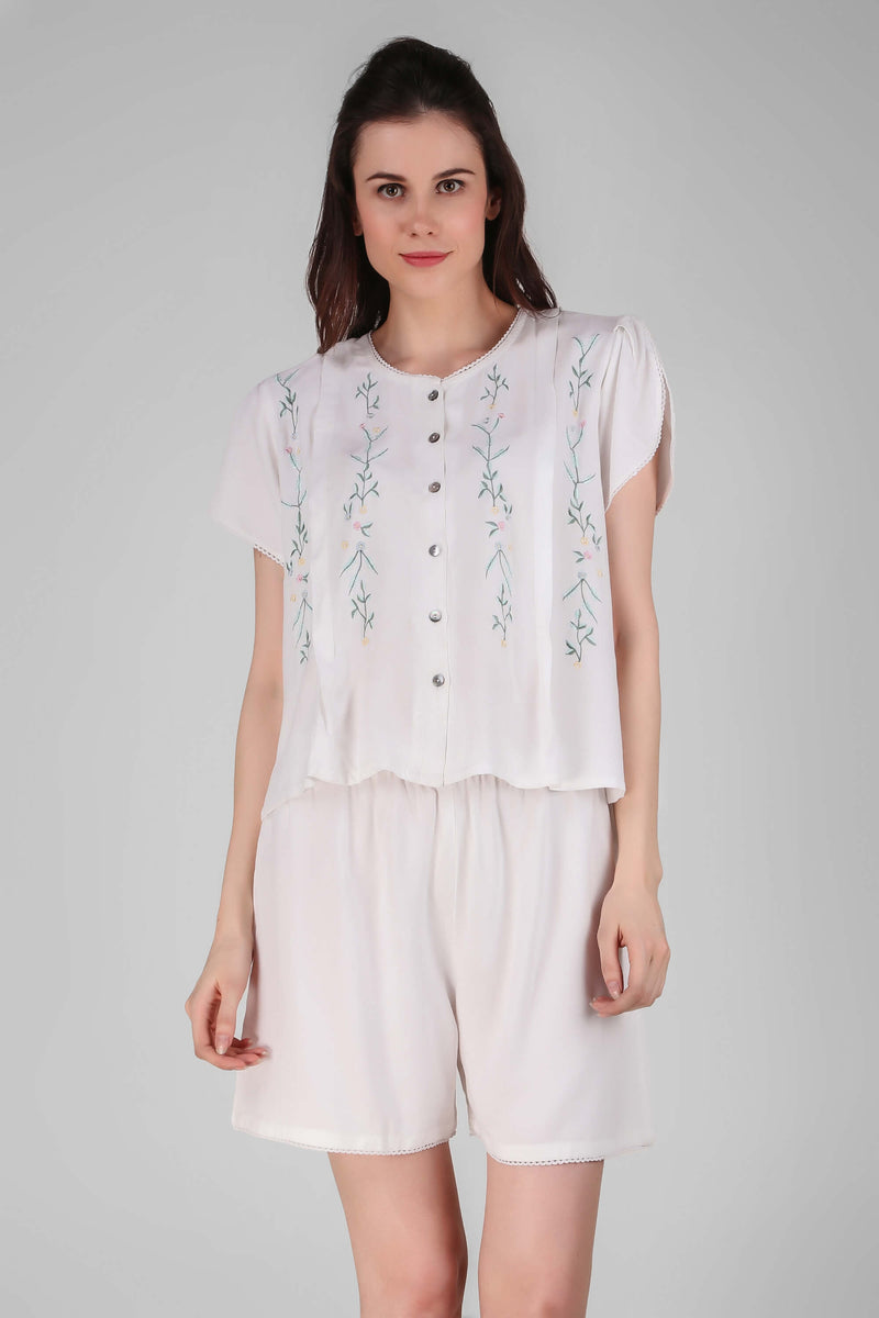 Yvonne, Embroidered Top & Shorts